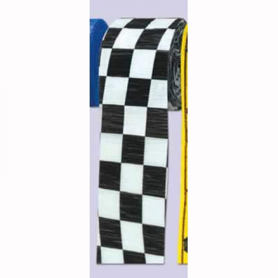 Checkered Black & White Crepe Streamer Paper 6cm x 9m