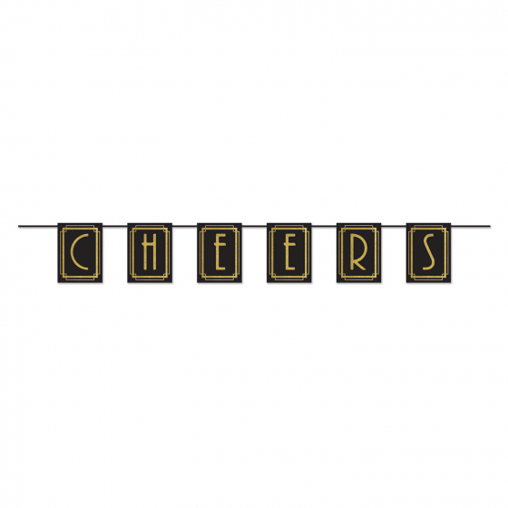 Great 20's Cheers Black & Gold Streamer Banner Cardboard 23cm x 182cm Each Pennant Size is 23cm x 17cm