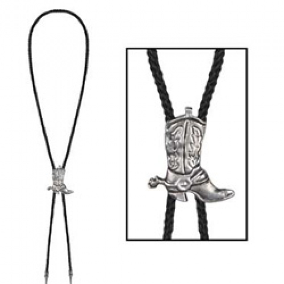 Western Cowboy Boot Bolo Tie Silver Metal Sliding Boot on Black Cord 94cm