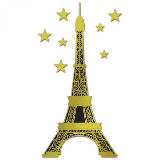 Eiffel Tower Gold & Black Jointed Cutout Foil Cardboard 179cm & 7 Gold Star Cutouts 10cm to 15cm