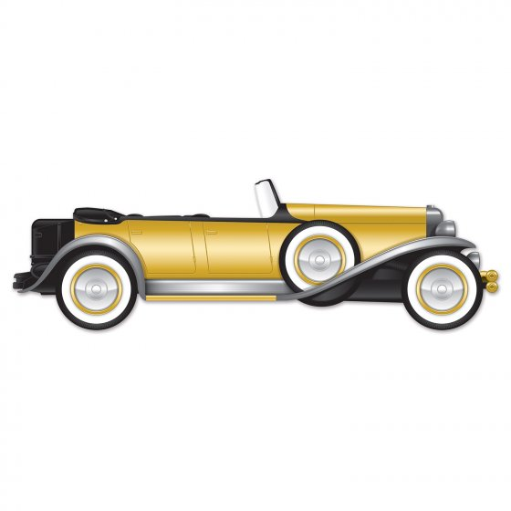 Great 20's Roadster Jointed Car Cutout Cardboard 30cm x 130cm Printed on Both Sides
