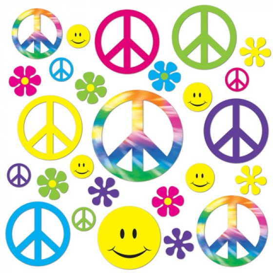 60's Retro Peace & Smiley Faces Cutouts Cardboard Assorted Designs & Sizes 5cm to 28cm Printed on Both Sides