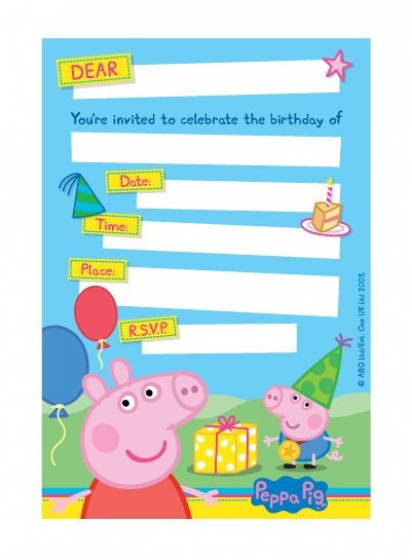 Peppa Pig Invitations Includes Envelopes