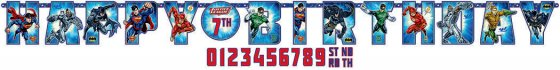 Justice League Jumbo Add-An-Age banner 10 1/2' x 10' (3.2m x 25cm)