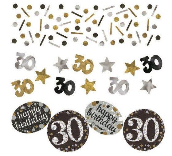 Sparkling Celebration 30 Confetti 34g Value Pack Black Silver & Gold Foil & Cardboard 34g