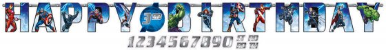 Avengers Epic Jumbo Add-An-Age Letter Banner Printed Paper. 10 1/2' x 10' (3.2m x 25cm)