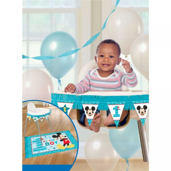 Mickey Fun To Be One High Chair Decorations Kit Contains: 1 Paper Fringe Banner 43'(1m) 1 Plastic Mat w/Paper Fringe 46'(1.1m) x 30'(76cm)