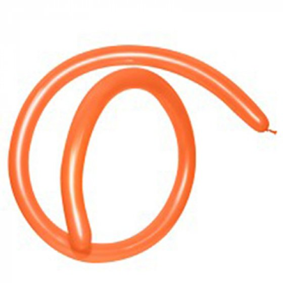 160T Fashion Orange Modelling Latex Balloons 50PK Size 2.5cm x 150cm (1' x 60') when Inflated