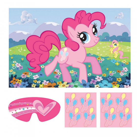My Little Pony Friendship Party Game Contains: 1 Paper Game Board 37 1/2'(95cm) x 24 1/2'(62cm). 2 Sticker Sheets 1 Paper Blindfold