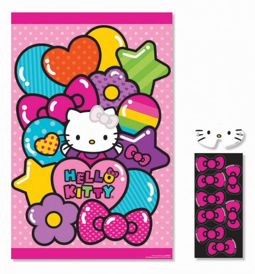Hello Kitty Rainbow Party Game Contains: 1 Paper Game Board 37 1/2'(95cm) x 24 1/2'(62cm). 2 Sticker Sheets 1 Paper Blindfold