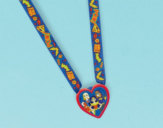 DC Superhero Girls Charm Necklace Favor Plastic Medallion & Fabric Necklace