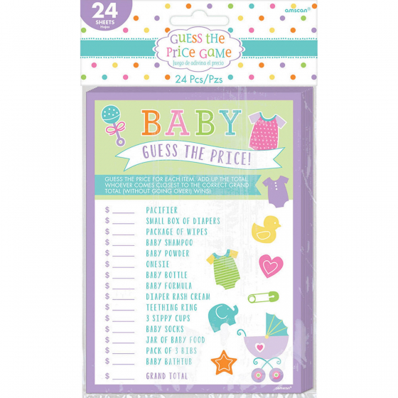 Baby Shower Guess the Price Game Contains 24 Playing Cards