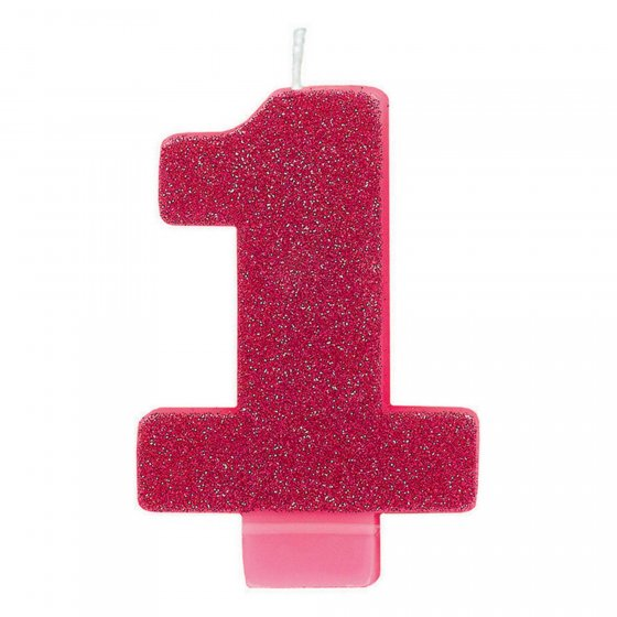 Candle Numeral Glitter #1 Pink 8cm