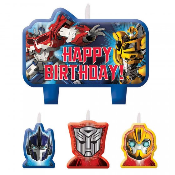 Transformers Core Birthday Candle Set Mini Moulded Set 3 Small and 1 Large