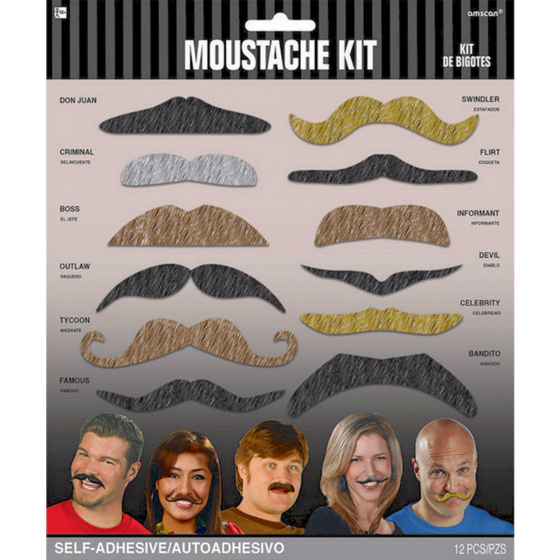 Moustache Kit - Let's Party Self Adhesive. Tape Ingredients: Petroleum Resin (CAS# 64742-16-1) Styrene-butadiene Rubber (CAS# 9003-55-8) Mineral Oil (CAS# 8042-47-5). Intended for novelty use only. Remove white protective layer from back of moustache to expose adhesive surface. Then apply. Some people may experience skin irritation when using this product. Discontinue use and wash skin thoroughly if any sign of irritation occurs. CAUTION: Keep away from fire and direct heat sources.