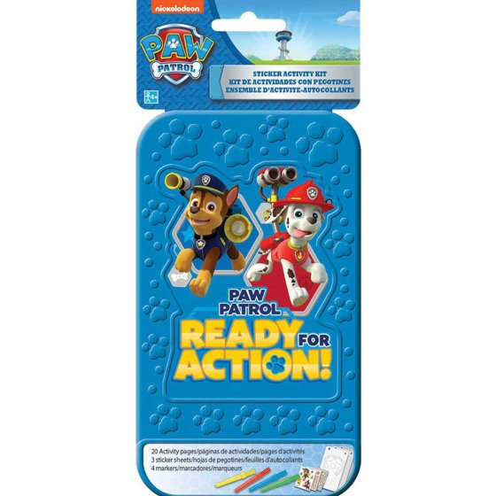 Sticker Activity Kit Paw Patrol Contains: Plastic Case 8' x 4' (20.3cm x 10.1cm) 20 Activity Pages 3 Sticker Sheets and 4 Markers