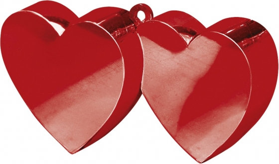 Double Heart Balloon Weight - Red Electroplated