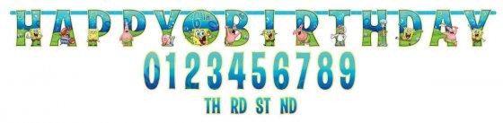 Spongebob Jumbo Add-An-Age Letter Banner 10 1/2' x 10' (3.2m x 25cm)