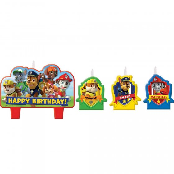 Paw Patrol Birthday Candle Set Mini Moulded Set 3 Small and 1 Large