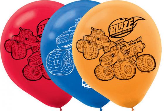 Blaze 30cm Latex Balloons Orange Red & Blue