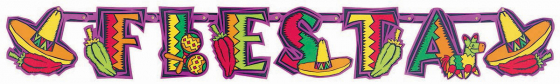 Fiesta Party Illustrated Letter Banner Printed Paper 4 3/4' x 7' (1.4m x 17.7cm)