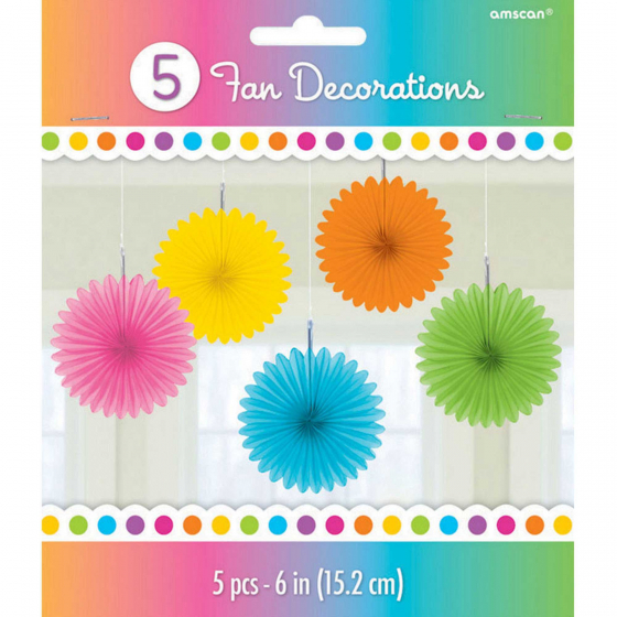 Mini Fan Decorations - Multi 6' (15cm)