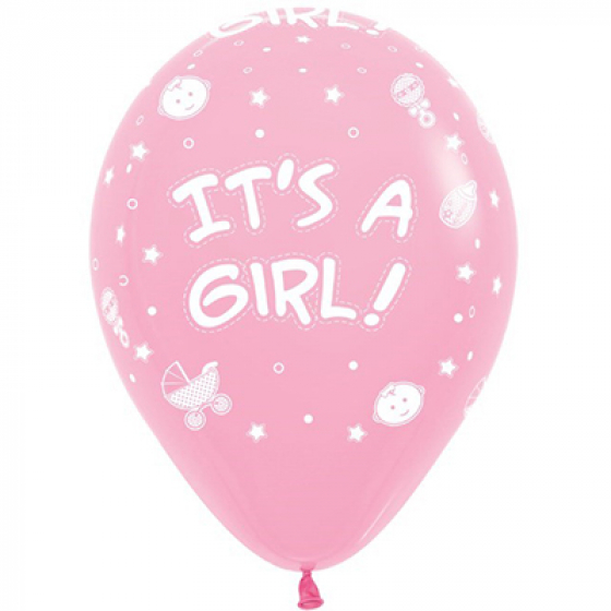 30cm It's A Girl! Fashion Pink Latex Balloons 12PK All Over Print