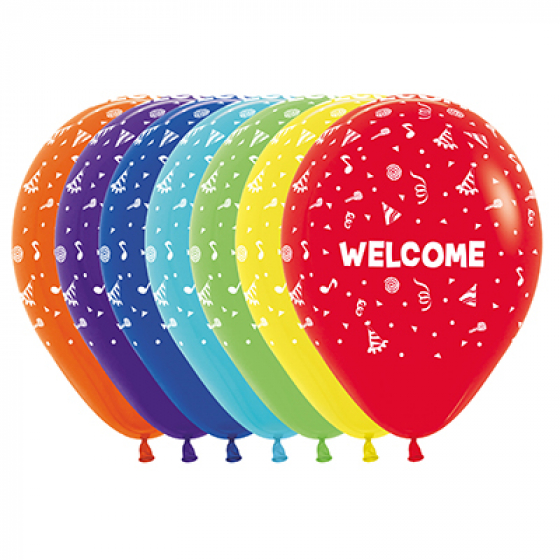 30cm Welcome Fashion Assorted Latex Balloons 12PK All Over Print