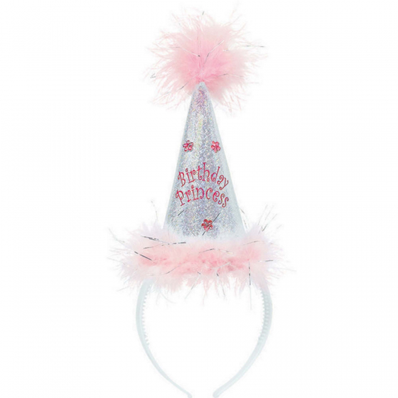 Princess Cone Hat Headband Fabric w/Feather Marabou 10' x 7' (25.4cm x 17.7cm)