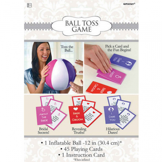 Bridal Shower Ball Toss Game 1 x Inflatable Ball 30cm 45 Playing Cards & Instructions.