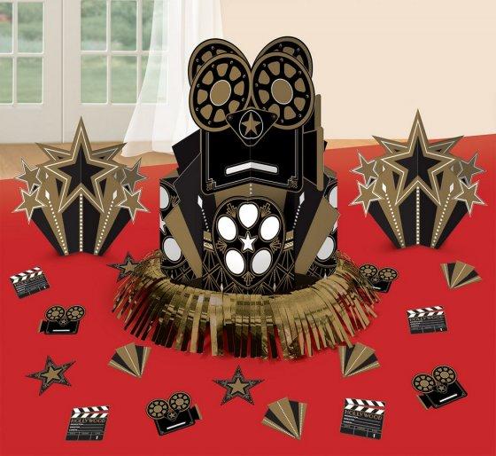 Glitz & Glam Table Decorations Kit Contains: 1 Foil Fringe Centrepiece 12 3/4'(32.3cm). 2 3-D Printed Paper Centrepieces 7'(17cm). 20 Pieces of Paper Confetti 2'(5cm)