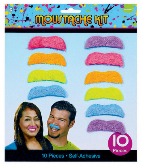 Totally 80's Moustache Kit Self Adhesive. Non-toxic. Intended for Adult Novelty use only. Remove white protective layer from back of moustache to expose adhesive surface. Then apply. Some people may experience skin irritation when using this product. Discontinue use and wash skin thoroughly if any sign of irritation occurs. CAUTION: Keep away from flame and direct heat sources. INGREDIENTS: Petroleum Resin (CAS# 64742-16-1) Styrene-butadiene Rubber (CAS# 9003-55-8) Mineral Oil (CAS# 8042-47-5)
