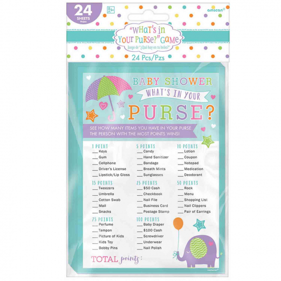 Baby Shower What's in your Purse Game 24 Playing Cards