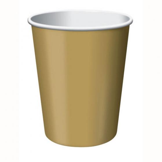 Glittering Gold Cups Paper 266ml 24 Pack