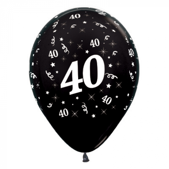 30cm Age 40 Metallic Black Latex Balloons 25PK