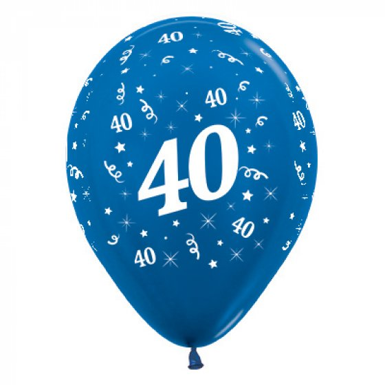 30cm Age 40 Metallic Blue Latex Balloons 25PK