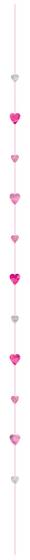 Balloon Fun Strings - Hearts Metallic Plastic & Glitter Paper 6' (1.8m)