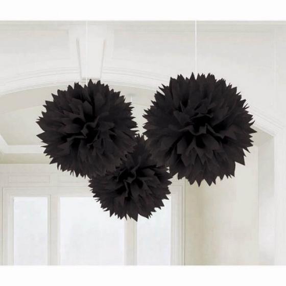 Fluffy Tissue Decorations - Black 40cm