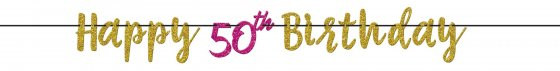 Pink and Gold Milestone 50th Letter Banner - Glitter 12' (3.65m)
