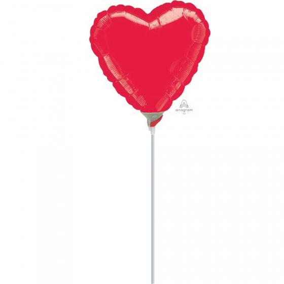 10cm Heart Metallic Red Foil Balloon. Requires Air Inflation & Heat Sealing. Non Self-Sealing Valve