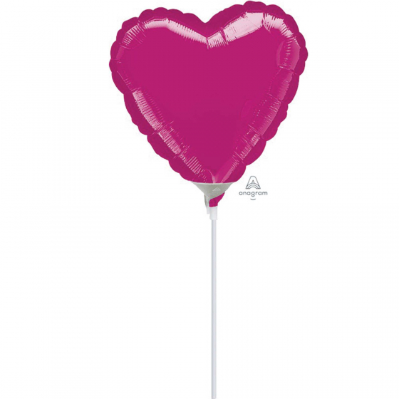 10cm Heart Fuchsia Foil Balloon. Requires Air Inflation & Heat Sealing. Non Self-Sealing Valve