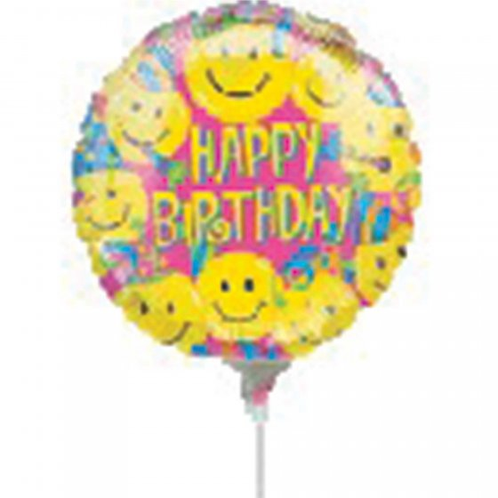 22cm Happy Birthday Smiles Foil Balloon. Requires Air Inflation & Heat Sealing. Non Self-Sealing Valve