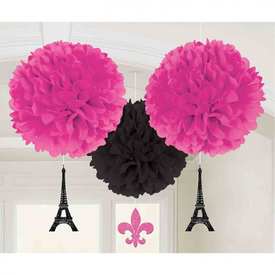 Day in Paris Fluffy Tissue Hanging Decorations & Glittered Cutouts 7' (18cm)