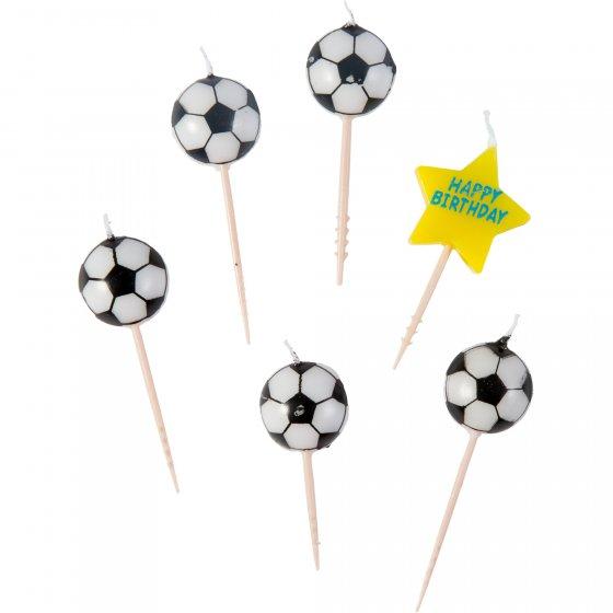 Soccer Fan Happy Bday & Soccer Balls Candle Picks 3' (7.6cm)