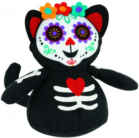 Roly Poly Day Of The Dead Cat Decoration Fabric 14cm
