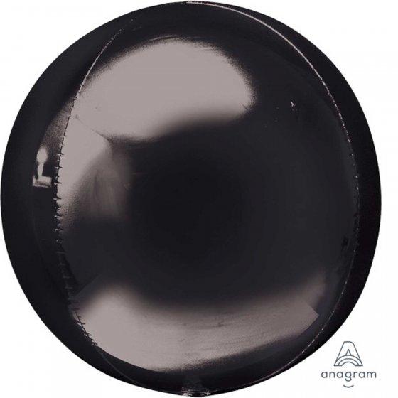 Orbz Black 38cm x 40cm Self Sealing Foil Balloon - Packaged