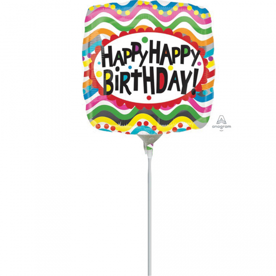 22cm Birthday Squiggles Foil Balloon. Requires Air Inflation & Heat Sealing. Non Self-Sealing Valve