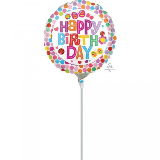 10cm Happy Birthday Flower Foil Balloon. Requires Air Inflation & Heat Sealing. Non Self-Sealing Valve