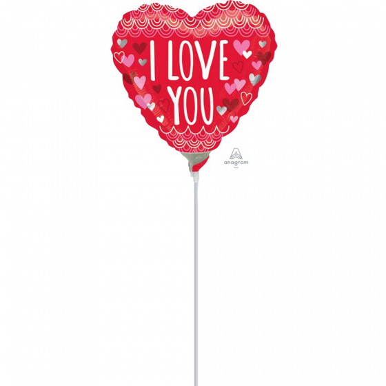 10cm I Love You Sketchy Scallops Foil Balloon. Requires Air Inflation & Heat Sealing. Non Self-Sealing Valve