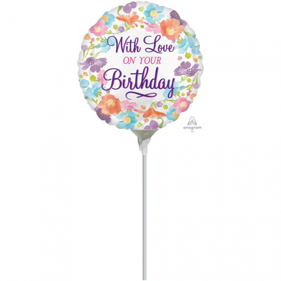 22cm With Love on Your Birthday Foil Balloon. Requires Air Inflation & Heat Sealing. Non Self-Sealing Valve